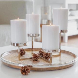 Kerzenständer | Kerzenhalter Adventskranz silber PAMPLONA Edzard ø 25 cm