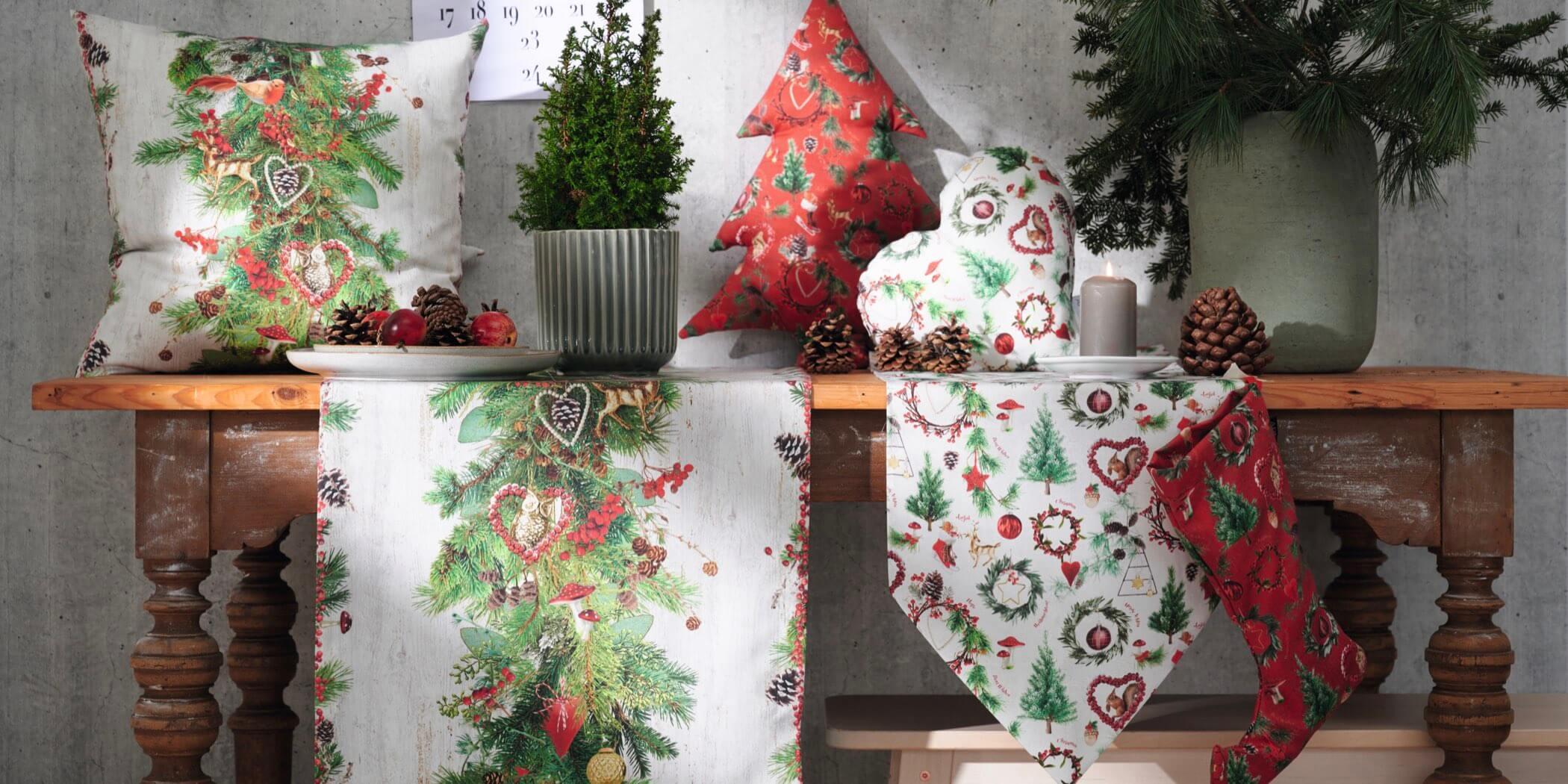 Weihnachtskissen Plaids & Tischläufer
