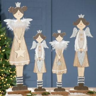 Weihnachtsdeko Holzengel SOPHIE & SOPHIA 2er-Set Casablanca H 50   57 cm