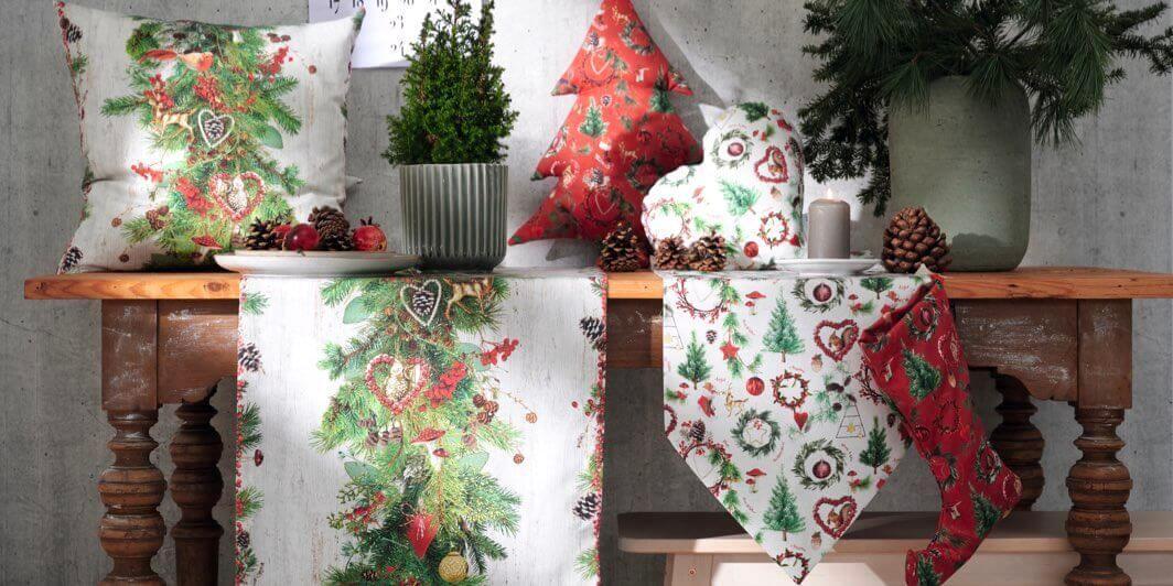 Weihnachtskissen, -tischläufer & Weihnachtstischdecken